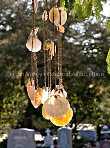 Seashell wind chimes at the Holy Cross Catholic Cemetery in Menlo Park, California