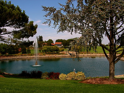 Gate of Heaven Cemetery pond and waterfall in Los Altos, California
