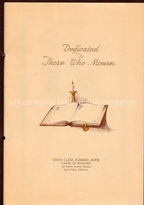 """Santa Clara Funeral Home """"Chapel of Memories"""" page from 1950 memorial book"""