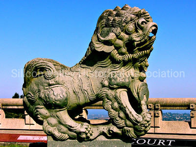 Chinese temple foo dog statue at the Skylawn Memorial Park burial area in San Mateo, California