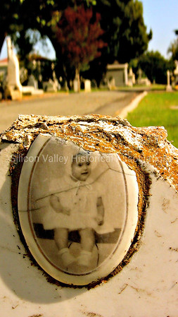 Cameo baby portrait Santa Clara Mission Cemetery Lydia Gonzales 1954