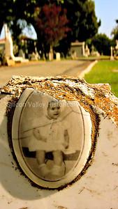 Cameo baby portrait Santa Clara Mission Cemetery Lydia Gonzales 1954