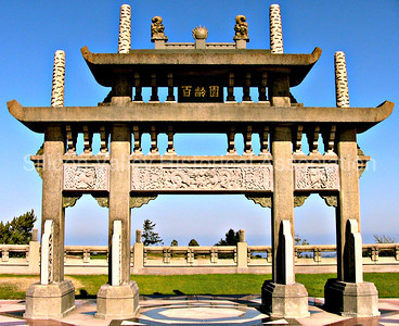 Chinese stone arch at the Skylawn Memorial Park in San Mateo, California