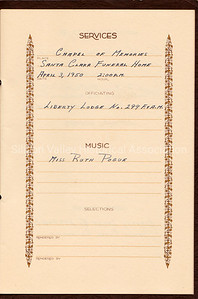 In Remembrance book  page showing service at the Santa Clara Funeral Home in 1950