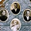 The Nicora family  ceramic photos on a gravestone at the Italian Cemetery in Colma, California