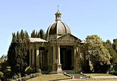 Memorial building at St. John's Cemetery in San Mateo, California