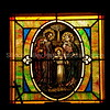 Stained glass window depicting the Holy Family at the Oak Hill Memorial Park in San Jose, California