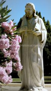 Saint Bartholomew statue at the Oak Hill Memorial Park in San Jose, California