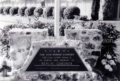 Plaque in honor and memory of Berlin Gardner at the Oak Hill Memorial Park in San Jose, California