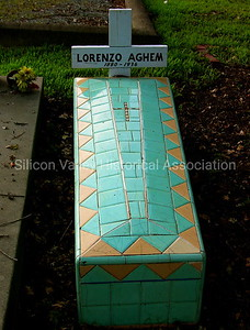 Tiled grave of Lorenzo Aghem (1880-1936) at the Holy Cross Cemetery in Menlo Park, California