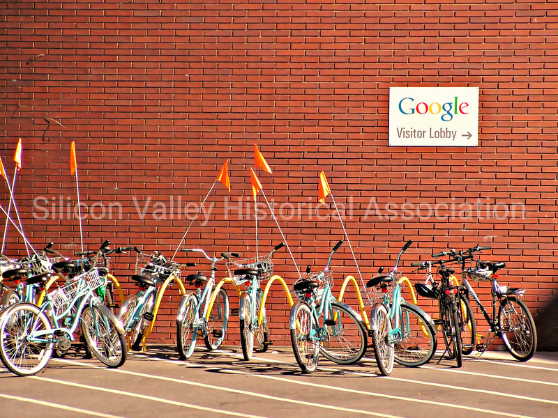 Google bicycles parked near visitor lobby at Google in Mountain View, California