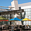 Google campus courtyard with colorful umbrellas