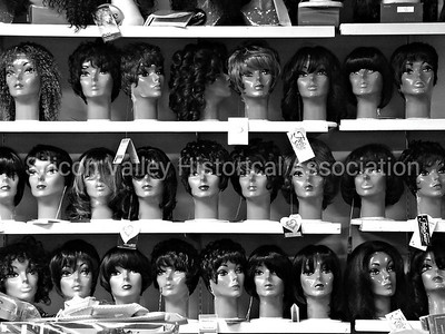Mannequins on a Shelf at the Wig Shop in Palo Alto