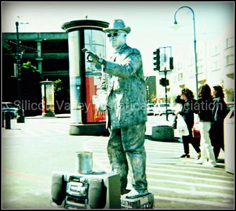 Street performer in San Francisco, California in 1998