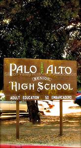 Palo Alto Senior High School signage at Palo Alto High School