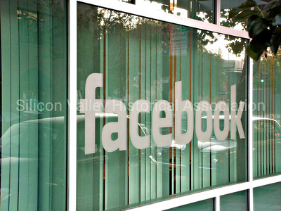 Facebook window signage in Palo Alto, California