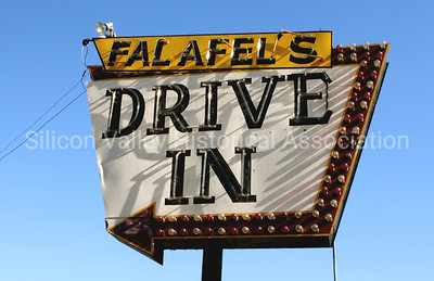 Falafel's Drive-in neon sign in San Jose, California