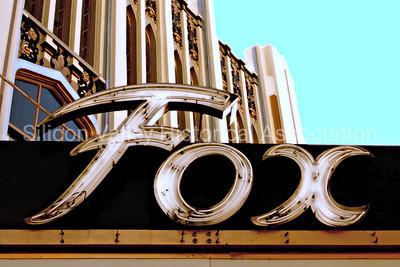 Fox Theatre signage in Redwood City, California