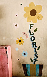 Florist signage on a wall in downtown Palo Alto, California