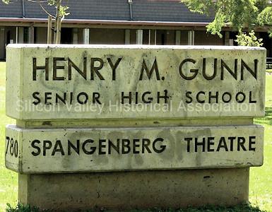 Henry M. Gunn concrete signage at Gunn High School in Palo Alto, California