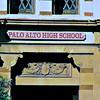 Palo Alto High School registration office signage in Palo Alto, California