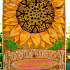 Wooden Community Organic Garden hand painted sign in Palo Alto, California