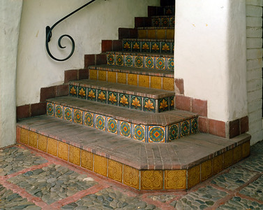 Decorative tiled steps at 535 Ramona Street in Palo Alto, California