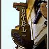 San Benito Hotel signage in Half Moon Bay, California