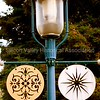 Green metal lamppost in the Redwood City Historic District