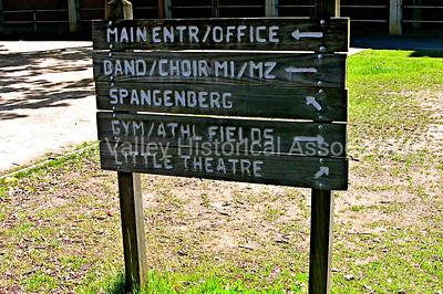 Wooden signage at Gunn High School in Palo Alto, California