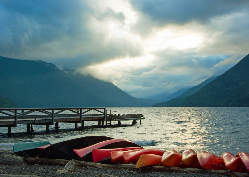 Canoes at the end of day, Crescent Lake, Olympic National Park, Washington, sunset