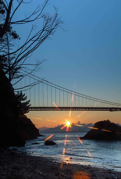 Sunrise over San Francisco from Kirby Cove