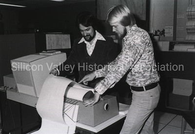 1970s dot matrix printer using pin fed continuous paper