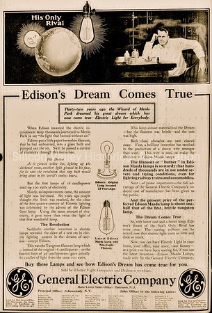 Thomas Edison invents the electric incandescent lamp General Electric ad from 1911