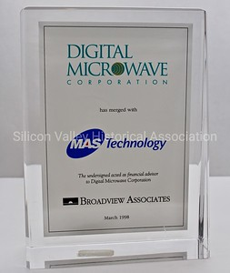 Digital Microwave Corporation and MAS Technology 1998 Financial Tombstone