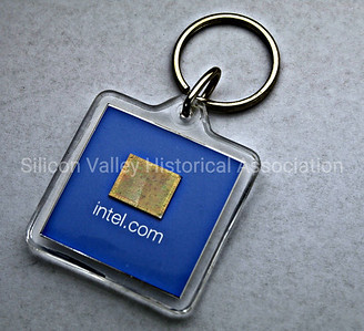 Intel chip keychain from 2000