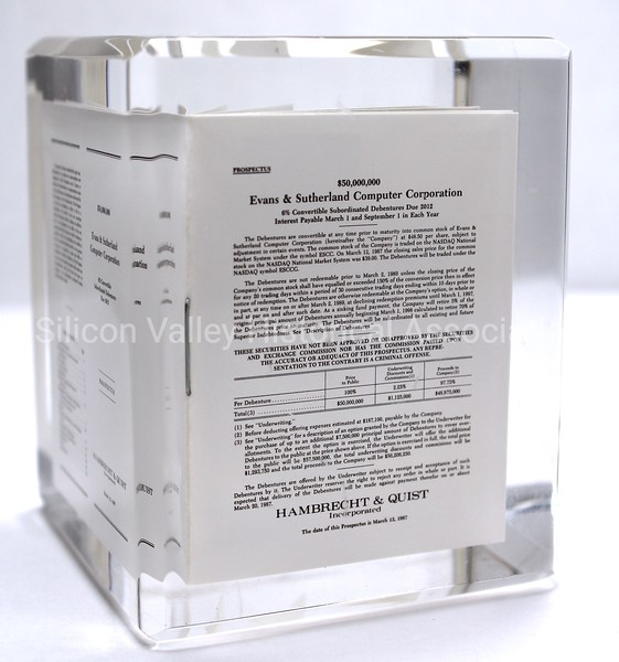 Evans & Sutherland Computer Corporation March 13, 1987 Prospectus IPO paperweight