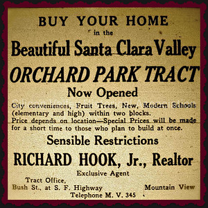 Buy Your Home in the Beautiful Santa Clara Valley Orchard Park Tract 1929 Advertisment