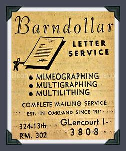 Barndollar Letter Service 1948 Advertisement