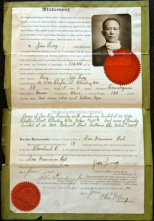 1902 Statement of a registered Chinese Laborer to the Collector of Customs Port of San Francisco, California