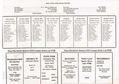 1961 Twin Cities Little League Roster and Schedule KTIM AM Radio San Rafael, California