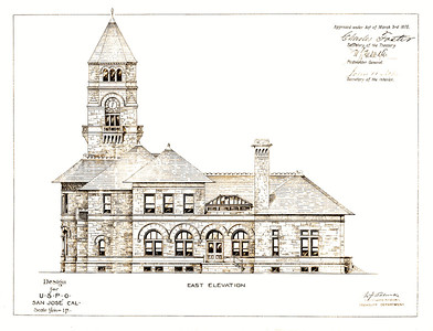 Design plans for the U.S. Post Office in San Jose, California in 1875