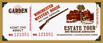 Winchester Mystery House estate tour ticket from 1984