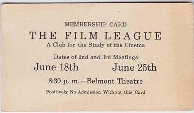Belmont Theatre THE FILM LEAGUE membership card c. 1949