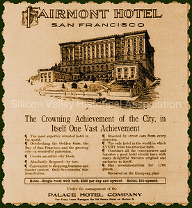 Fairmont Hotel San Francisco 1909 Advertisement