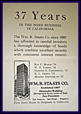 Wm. R. Staats Co. First Bond House to Originate in California 1925 Advertisement