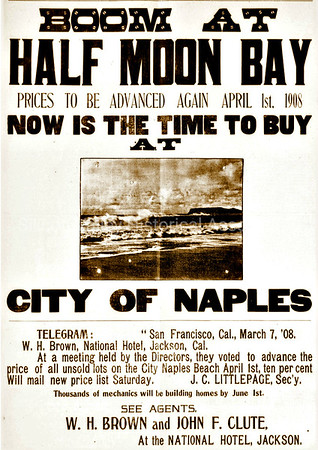 Boom at Half Moon Bay 1908 Advertisement
