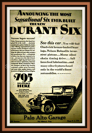Palo Alto Garage Durant Six 1929 Advertisement