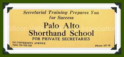 Palo Alto Shorthand School for Private Secretaries 1929 Advertisement