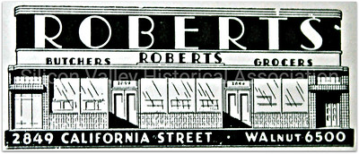 Roberts Butchers and Grocers in San Francisco 1943 Advertisement